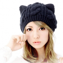 Cute Solid Color Cat Ears Warm Knitting Hat