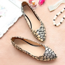 Gold Tone Point Toe Printed Flat Slip On Shoes