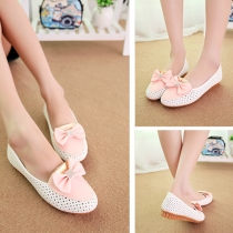 Sweet Rhinestone Bowknot Breathable Hollow Out Pointed Toe Flat Shoes