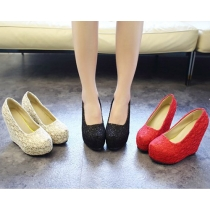 Fashion Reticular Lace Slip-on Wedge High-heeled Shoes