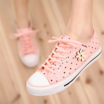 Fashion Dots Print Lace Up Canvas Shoes