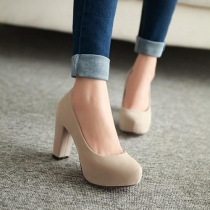 OL Style Pure Color Thick High-heeled Round Toe Shoes Pump