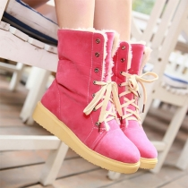 Fashion Round Toe Flat Heel Lace Up Snow Boots