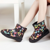 Fashion Graffiti Pattern Round Toe Flat Heel Warm Snow Boots