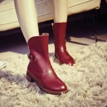 British Style Round Toe Flat Heel Knight Boots