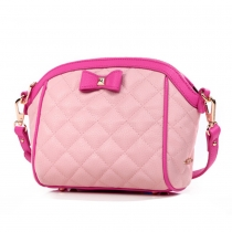 Fashion Contrast Color Bowknot Quilted Shoulder Bag