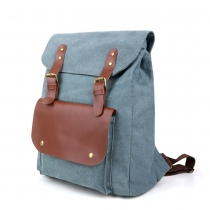 Fashion Contrast Color Canvas Backpack School Travelling Bag