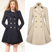 Fashion Double-breasted Solid Color Slim Fit Trench Coat