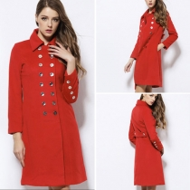Elegant Double-breasted Solid Color Slim Fit Woolen Coat