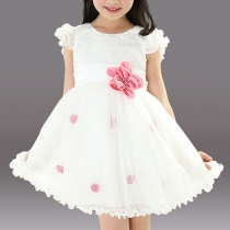 Girls Summer Dress Puff sleeve Ribbon Flower Sweet Princess Dress