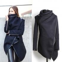 Fashion Solid Color Irregular Hem Woolen Trench Coat