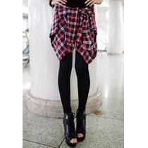 Fashion Mock Two-piece Grid Spliced Leggings