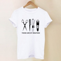 Chic Style Short Sleeve Round Neck Hair Trimmer Printed Pattern White T-shirt