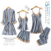 Sexy Comfortale Solid Color Lace Spliced Pajamas Nightwear Five-piece Set