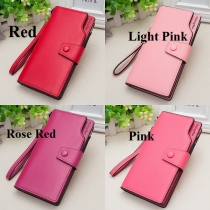 Concise Style Solid Color Hasp Wallet For Women