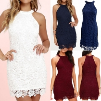Elegant Solid Color Lace Spliced Round Neck Sleeveless Dress