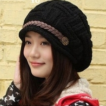Fashion Contrast Color Warm Knitted Women Hat Beanie