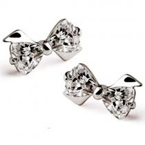 Cute Bowknot Shaped Rhinestone Stud Earrings