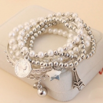 Retro Eiffel Tower Pearl Bracelet 6pcs/Set