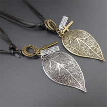 Retro Gold/Silver-tone Leaf Pendant Necklace