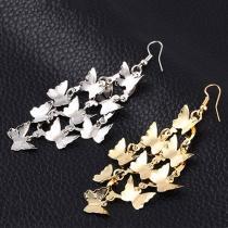 Punk Style Gold/Silver-tone Butterfly Earrings