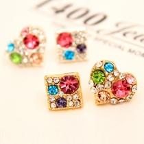 Fashion Heart Square Asymmetric Rhinestone Stud Earrings