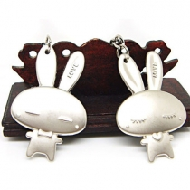 Cute Rabbit Metal Couple Keychain