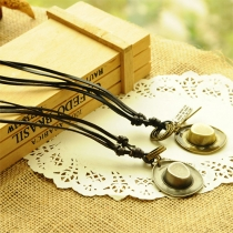 Vintage Style Alloy Pendant Faux Leather Chain Sweater Necklace