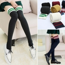 Fashion Contrast Color Knit Thigh High Over The Knee Socks