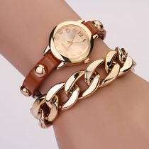 Retro Style PU Leather Watch Band Round Dial Watch