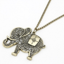 Retro Hollow Out Elephant Pendant Sweater Necklace