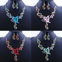 Fashion Rhinestone Butterfly Necklace + Earrings Set