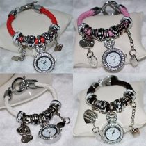Fashion Heart Rhinestone Dial Pendant Bracelet Watch