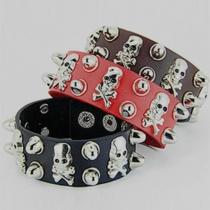 Retro Punk Style Skull Head PU Leather Bracelet