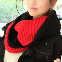 Fashion Contrast Color Warm Knit Infinity Scarf