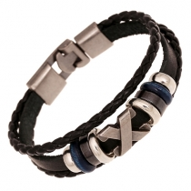 Retro Punk Style Beaded Braided PU Leather Bracelet
