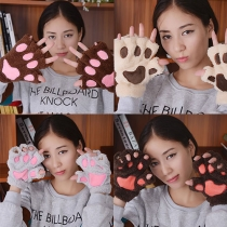 Cute Cartoon Pattern Warm Half-finger Gloves
