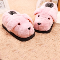 Warm Plush Cartoon Puppy Cotton Slippers