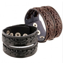 Punk Style Braided PU Leather Bracelet