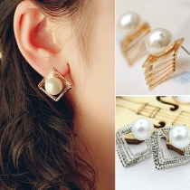 Fashion 3D Hollow Out Square Pearl Stud Earrings