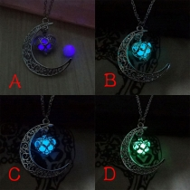 Retro Luminous Moon-Shaped&Heart-Shaped Pendant Necklace