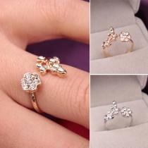 Fashion Elegant Rhinestone Leaf Flowers Shaped Open Ring