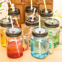 Fashion Creative Colorful Glass Straw Bottle