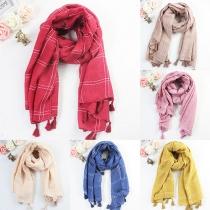 Fashion Solid Color Tassel Warm Scarf