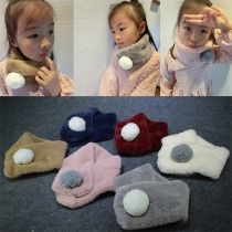 Fashion Solid Color Elastic Ball Scarf For Children