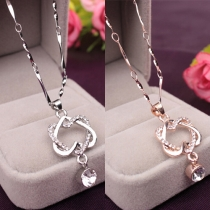 Fashion Rhinestone Double-heart Pendant Necklace