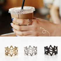 Fashion Hollow Out Pentagram Alloy Ring