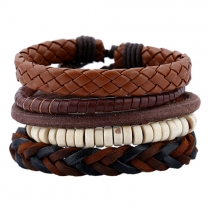 Retro Style DIY Braided PU Leather Bracelet for Men