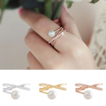 Fashion Rhinestone Pearl Crossover Ring
