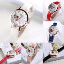 Fashion PU Leather Watchband Rhinestone Round Dial Quartz Watch
